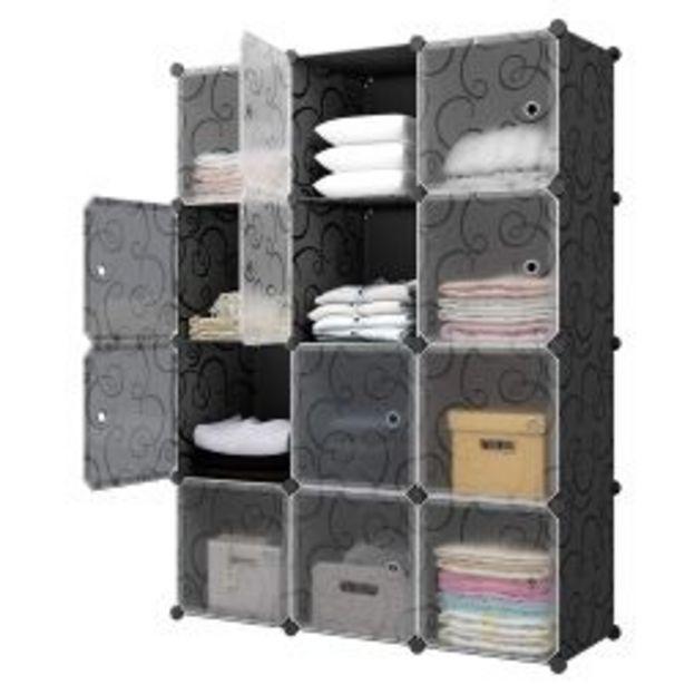 Oferta de Armario Organizador 6 Cubos más 2 Percheros Modular Customizable por $7772