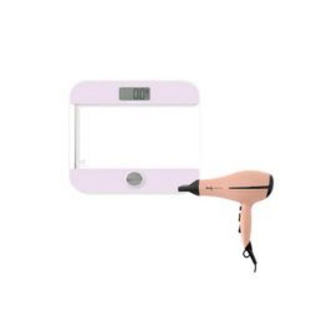 Oferta de Balanza Digital Rosa mas Secador de pelo Peach por $7650