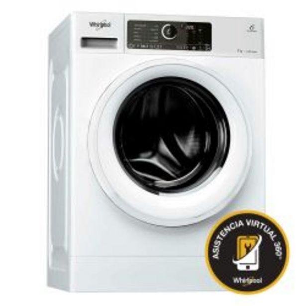 Oferta de Lavarropas Carga Frontal Sense Inverter Whirlpool 7Kg 1400 RPM WLCF70B por $59999