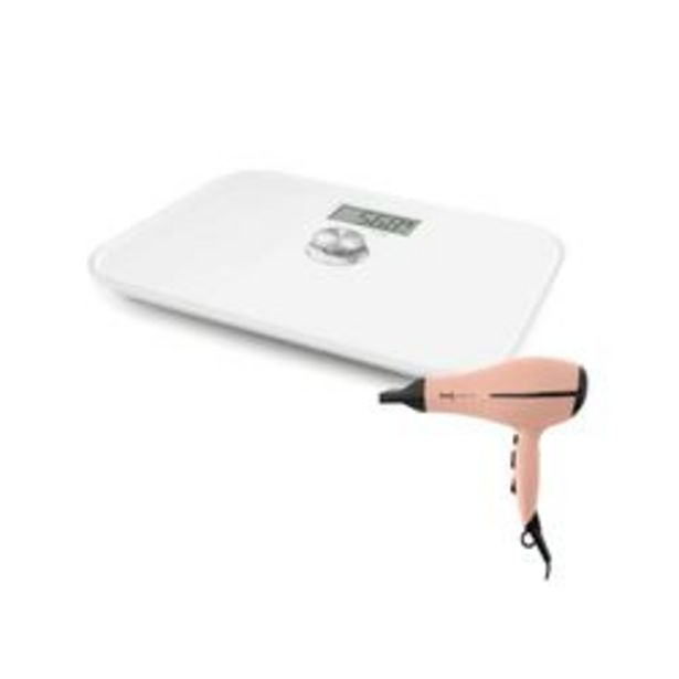Oferta de Balanza Digital Blanca mas Secador de pelo Peach por $8120