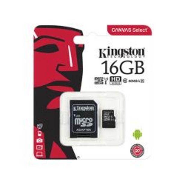 Oferta de Memoria MicroSD 16 GB Clase 10 Kingston Negra por $962