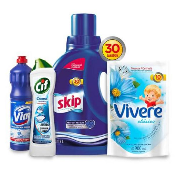 Oferta de Combo jabón liquido + suavizante + lavandina + desinfectante por $699