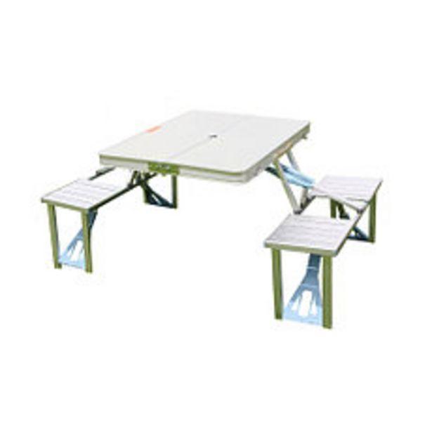 Oferta de Set Aluminio Mesa + 2 Bancos 88.5x38.5x11 Cm por $12990
