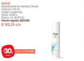 Oferta de Desodorante en Aerosol Clinical Original x 110 ml. por