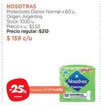 Oferta de Protectores Diarios Normal x 60 u. por