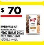 Oferta de Hamburguesas PATY  por $70