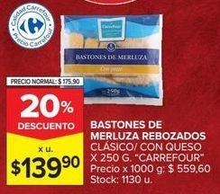 Oferta de Bastones de merluza rebozados Carrefour por $139,9