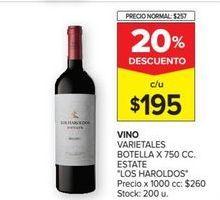 Oferta de Vino tinto Los Haroldos por $195