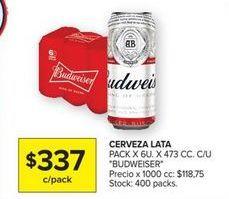 Oferta de Cerveza Budweiser por $337