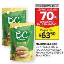 Oferta de Mayonesa BC por $63,5