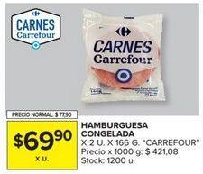 Oferta de Hamburguesas Carrefour por $69,9