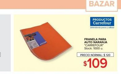 Oferta de Franela para auto naranja  por $109