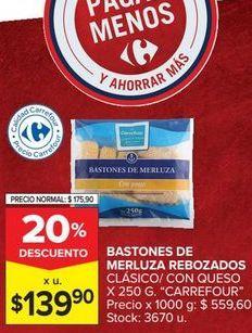 Oferta de Bastones de merluza rebozados clásico con queso Carrefour por $139,9