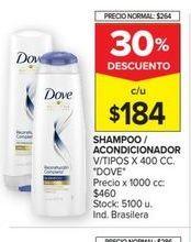 Oferta de Shampoo/acondicionador Dove por $184