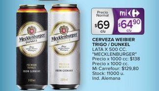 Oferta de Cerveza Weiber trigo/dunkel Mecklenburger por $69