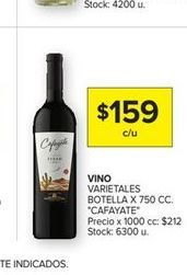 Oferta de Vino Varietales botella x750cc Cafayate por $159