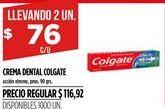 Oferta de Crema dental Colgate por $76