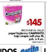 Oferta de Papel higiénico Campanita por $145