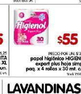 Oferta de Papel higiénico Higienol expert plus hoja simple por $55
