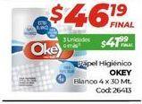 Oferta de Papel higiénico Okey por $46,19