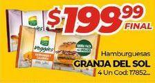 Oferta de Hamburguesas Granja del Sol por $199,99