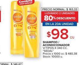 Oferta de Shampoo  acondicionador Sedal por $98