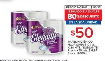 Oferta de Papel higiénico hoja simple Elegante por $50