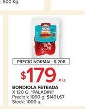 Oferta de Bondiola feteada Paladini por $179