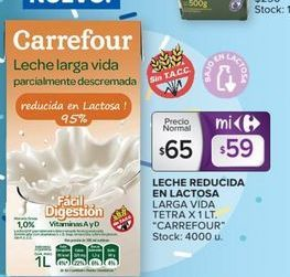 Oferta de Leche reducida en lactosa larga vida Carrefour por $65