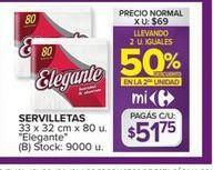 Oferta de Servilletas Elegante por $51,75