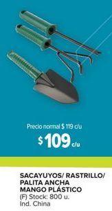 Oferta de Sacayuyos/ rastrillo/ palita ancha mango plástico por $109