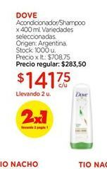 Oferta de Shampoo/acondicionador DOVE por $141,75