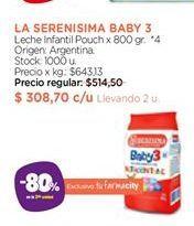 Oferta de Leche infantil pouch La Serenísima Baby 3 por $308,7