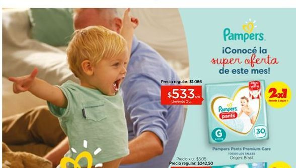 Oferta de Pañales Pampers Pants premium care por $233