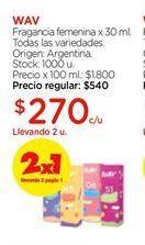Oferta de Fragancia femenina x 30ml todas las variedades WAV por $270