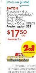 Oferta de Chocolate x 16gr todas las variedades BATON  por $17,5
