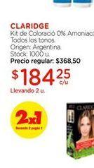 Oferta de KIT DE COLORACION 0%AMONIACO TODOS LOS TONOS por $184,25