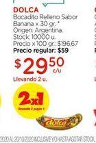 Oferta de Bocadito relleno sabor banana x 30gr Dolca por $29,5