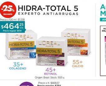 Oferta de LOREALCREMA HIDRA TOTAL 5 WRINKLE EXPERT  X 50 ML por $464,25