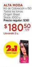 Oferta de Kit de coloracion x 150 todos los tonos ALTA MODA  por $180,5