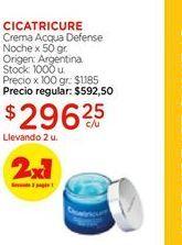 Oferta de Crema acqua defense noche x 50gr CICATRICURE  por $296,25