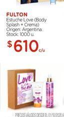 Oferta de Estuche Love ( Body Splash+ crema) FULTON por $610