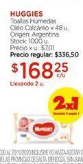 Oferta de Toallitas húmedas oleo calcareo x 48un HUGGIES  por $168,25