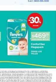 Oferta de Pañales Pampers Confort Sec Megapack por $469,35