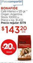Oferta de Cafe intenso x 125gr Bonafide por $143,2