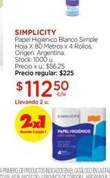 Oferta de Papel higiénico blanco simple hoja x 80 metros x 4 rollos Simplicity por $112,5