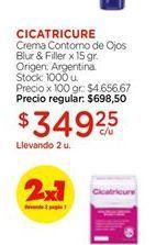 Oferta de Crema contorno de ojos blur &filler Cicatricure x15gr por $349,25