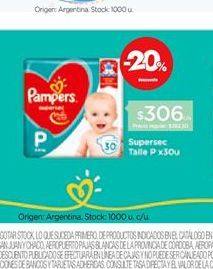 Oferta de Pañales Pampers Supersec P x 30 un por $306