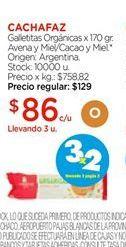 Oferta de Galletitas organicas x 170gr avena y miel/cacao y miel CACHAFAZ  por $86
