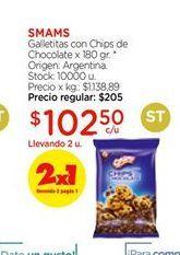 Oferta de Galletitas con chisp de chocolate x 180gr SMAMS  por $102,5